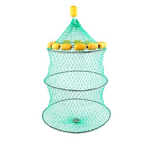 XQK 3 Layer Collapsible Fishing Net Multi Buoyancy Ball Fish Cage Foldable Portable Fishing Gear Nylon Basket Wide Range Large Capacity Folding Fishing Trap