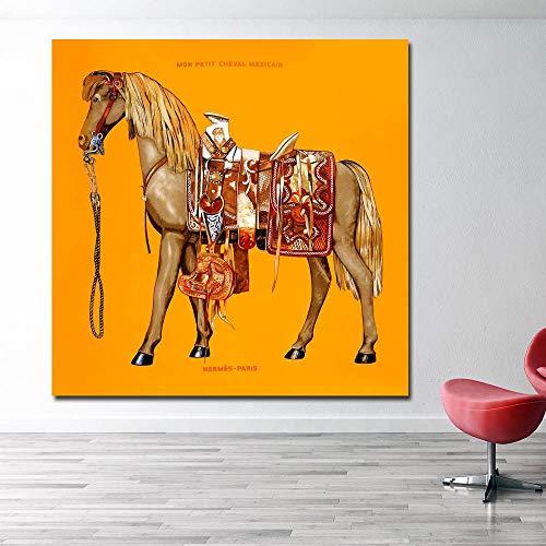 Impresión Animal Naranja Azul Lona del Caballo Pintura De Pósters Cuadros De La Pared For Sala De Estar Cuadros Decoración Sin Marco Sin Marco (Color : Horse 2, Size (Inch) : 70x70cm Unframed)