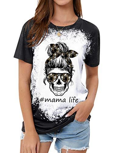 StarVnc Womens Funny Skull Mama Life T Shirt Short Sleeve Daisy Letter Print Skull Graphic Tees Tops