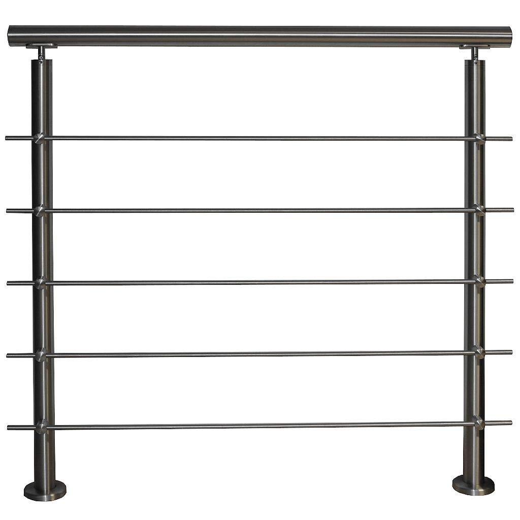 Barandilla de acero inoxidable para montaje en balcón, terraza, escalera con variante de puntales horizontales: con 5 varillas: 0,8 m de longitud, incluye 2 postes.: Amazon.es: Bricolaje y herramientas