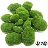 Woohome Mousse Artificielle Rocks Décoratifs, 25 PCS 2 Taille Boules de Mousse Verte pour Arrangements Floraux, Fée Jardins, Terrariums et Travaux Manuels