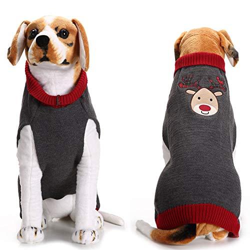 XXDYF Weihnachten Hundepullover, Stricken Hund Pullover Weihnachtlich Rentier Hundepullover Wintermantel für Kleine und Mittlere Hunde,XXL