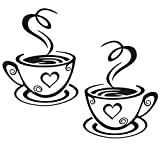 Decaltor Dual Coffee Cup Pattern Sticker Wall Decals Home Art Decor Size 12'' 7