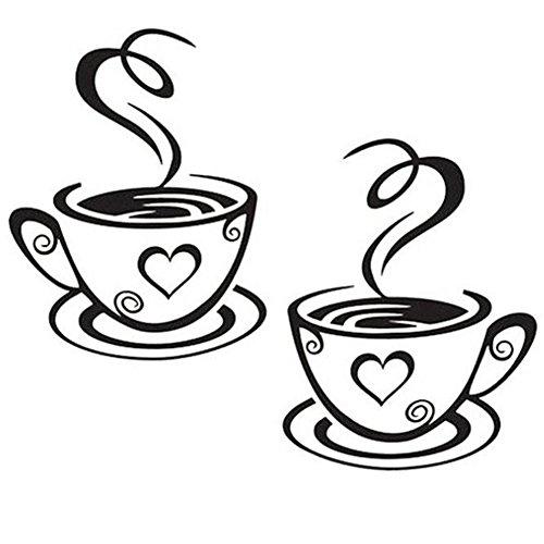 Qinlee Kaffeetasse abnehmbar PVC Wandtattoo mit Sprueche Wandaufkleber Aufkleber Wandsticker Kueche Wohnzimmer Kaffee für Glasfenster Café
