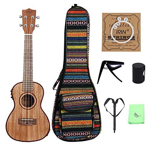 Ukelele electroacústico, guitarra pequeña de cuatro cuerdas de 24 pulgadas con borde de concha de abulón