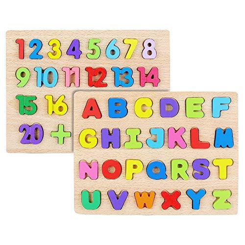EKKONG Puzzle De Madera Juguetes Bebes, 1-20 Número+ABC Abecedario Puzzle Rompecabezas Madera para Niños de 3 4 5 6 Años, Juguetes Educativos Regalo de cumpleaños, Navidad (ABC+123)