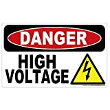 AZ House of Graphics Danger High Voltage Stickers - Small 2.5 in x 1.5 in - 3 Pack