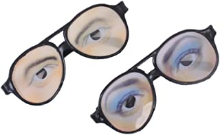 OULII Joke Funny Glasses Male Female Eye Glasses for Halloween Party Props 2PCS