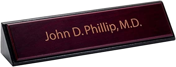Dacasso School Office Boardroom Meeting Table Top Accessories Rosewood And Leather Name Plate