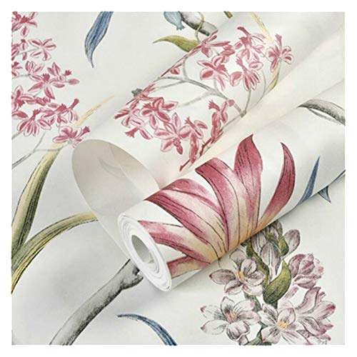 WHYBH HYCSP Wallpaper Schlafzimmer-Wand-Covering modernen Vintage rosa Blumentapete Blau tropischer Schmetterling Vögel Blumen-Wand-Papier (Color : WP44301 Creamy White, Size : 10mx53cm)