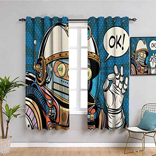 Modern Decor Printed Soundproof Privacy Window Curtains Futuristic Comics Super Heros Like Robot in a Spacesuit with OK Quote Artwork Protective Furniture Multicolor W63 x L63 Inch