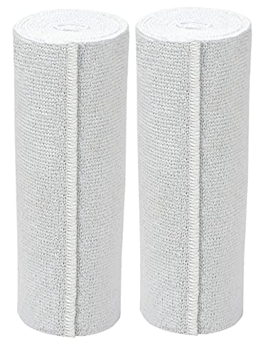 GT USA Organic Cotton Soft Woven White (6' Width, 2 Pack) | Cotton Elastic Bandage Wrap | Latex Free | Hook & Loop Fastener at One End | Hypoallergenic Compression Roll for Sprains & Injuries