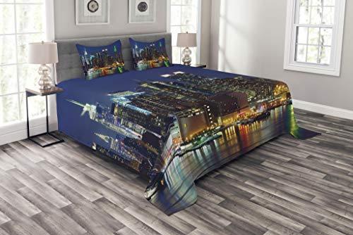 ABAKUHAUS New York Tagesdecke Set, NYC Midtown Skyline, Set mit Kissenbezügen farbfester Digitaldruck, für Doppelbetten 220 x 220 cm, KönigsBlauen