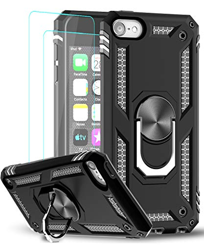iPod Touch 7 Case, iPod Touch 6 Case, iPod Touch 5 Case with Tempered Glass Screen Protector [2Pack], LeYi Military Grade Phone Case with Car Mount Kickstand for Apple iPod Touch 7th/6th/5th Gen,Black
