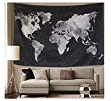 """Tapestry Stars World Map Printed Boho Hanging Wall Decor Bohemian Beach Hippie Blanket for Home Decoration---60"""" x40""""(150x102cm)"""