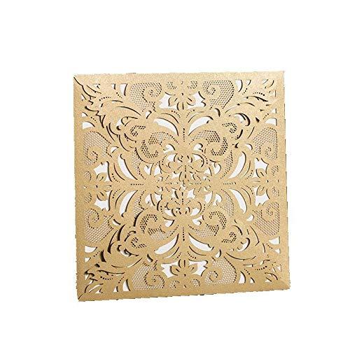 XLYAN Hochzeitseinladungen Durchbrochene Muster Hochzeit Einladungen Laserschneiden Einladung Mit Umschlag,Leeres Bedruckbares Papier,50,Gold