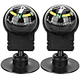 2PCS Compass for Car, Mount Dashboard Compasses Compass Hiking Direction Guide Ball for Car, Boat