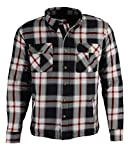 Milwaukee Leather MPM1635 Men's Armored Biker Flannel Biker Shirt with Aramid by DuPont Fibers - Large