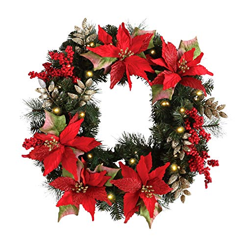 BrylaneHome Christmas Pre-Lit Poinsettia Wreath, Red