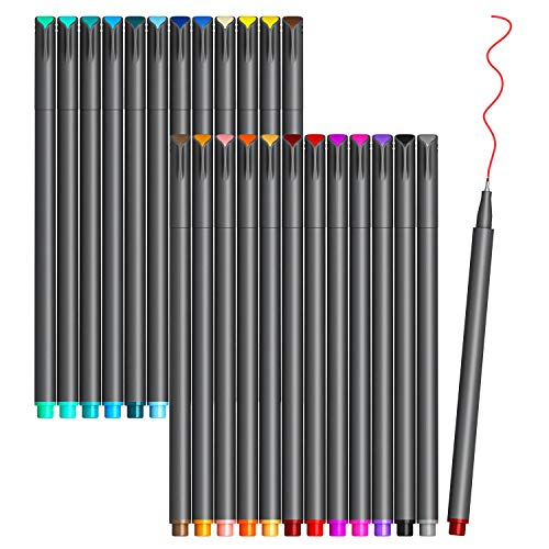 VITOLER Colored Journaling Pens, Fine Line Point Drawing Marker Pens for Writing Journaling Planner Coloring Book Sketching Taking Note Calendar Art Projects Office School Supplies (24 Colors)