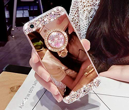Artfeel Glitzer Spiegel Hülle für Samsung Galaxy A7 2018/A750, Bling Glänzend Diamant Strass mit Ring Halter Ständer Handyhülle,Ultra Dünn klar Weich Silikon Make Up Spiegel Hülle-Rose Gold