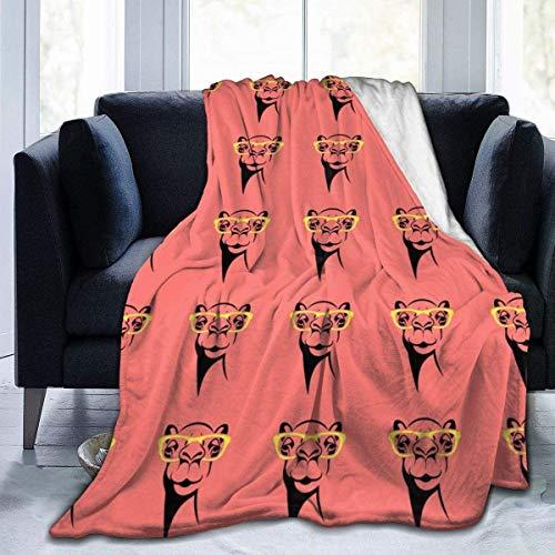 MODORSAN Moda Llama Gafas Ilustración Manta Súper Suave Cómoda Micro 50'x40' Manta Fuzzy Manta Decorativa Manta Ligera y Acogedora para Sofá Cama