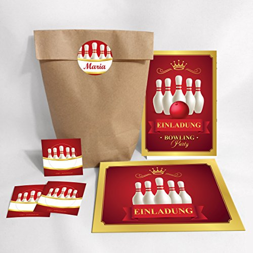 """10-er Set Einladungskarten, Umschläge, Tüten, Aufkleber Kindergeburtstag """"Bowling"""" für Mädchen / bunte Einladungen (10 Karten +10 Umschläge + 10 Party-Tüten (Kreuzbodenbeutel) +10 Aufkleber)"""