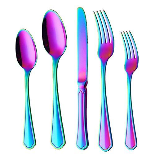 Buyer Star 5-Pieces Flatware Set, Rainbow Silverware Stainless Steel Reusable Wedding Dinnerware Cutlery Set