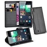 Cadorabo Hülle für Huawei P6 - Hülle in Phantom SCHWARZ – Handyhülle mit Kartenfach & Standfunktion - Hülle Cover Schutzhülle Etui Tasche Book Klapp Style