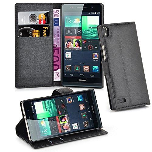 Cadorabo Funda Libro para Huawei Ascend P6 en Negro Fantasma - Cubierta Proteccíon con Cierre Magnético, Tarjetero y Función de Suporte - Etui Case Cover Carcasa