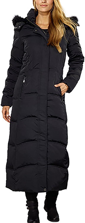 1 Madison Ladies Maxi Down Coat Detachable Faux Fur Hood