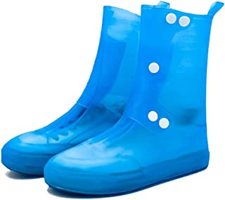 Silicone Rain Boots, Waterproof Non-Slip Thickening High Tube, Integrated Rain Boots JCCOZ (Color : Blue, Size : XXL)