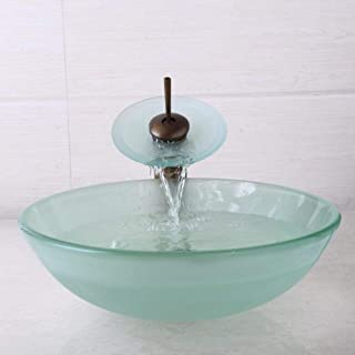 Tempered Glass Bathroom Sink Round Sink Sink with Waterfall Antique Brass tap Sink tap Set for tapware