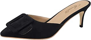 Comfity Mule Slippers for Women,Pointed Toe Slides Buckle Kitten Heels Backless Dress Sandals