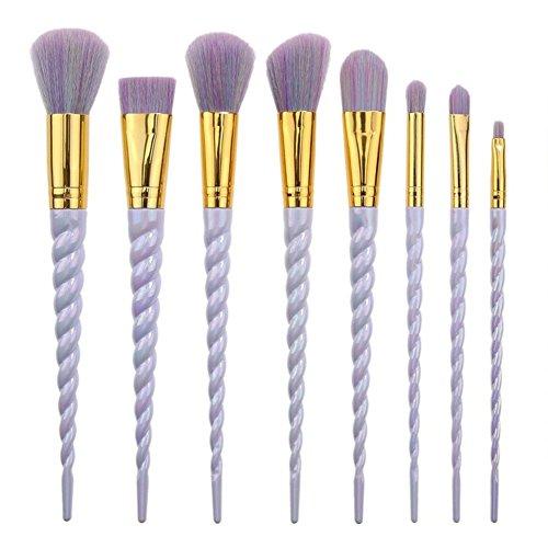 Brosse de maquillage Set 8pcs pinceaux de beauté avec soies synthétiques et végétaliens, pour toutes les consistances (poudre, crèmes et liquides)