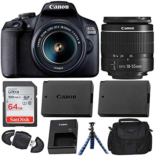 Canon EOS 2000D (Rebel T7) Digital SLR Camera with 18-55mm DC III Lens Kit