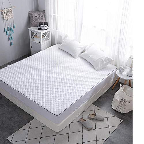 GTWOZNB Protector de colchón/Cubre colchón Acolchado, antiácaros, Sábana de Color Puro Transpirable-Blanco_90 * 180cm