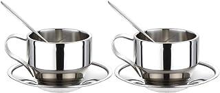 Fhdpeebu Ensemble de Tasses à Café IsoléEs,Tasses à Espresso en Acier Inoxydable à Double Paroi Tasse à Thé Latte Cappucci...