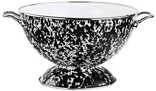 Reston Lloyd 3 Quart Enamel Colander Vegetable Strainer Fruit Berry Bowl Black Marble