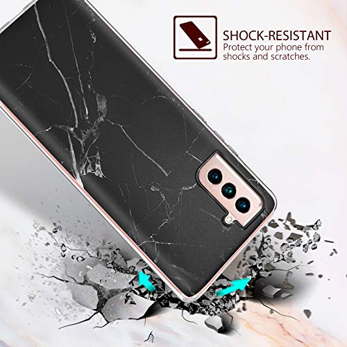 AROYI 2 Stück Hülle Kompatibel mit Samsung Galaxy S21 5G Hülle Marmor Silikon,Samsung S21 5G Case Glitzer,Flexible TPU Schutzhülle Anti-Kratzer Handyhülle Kompatibel mit Galaxy S21 5G Schwarz, Weiß