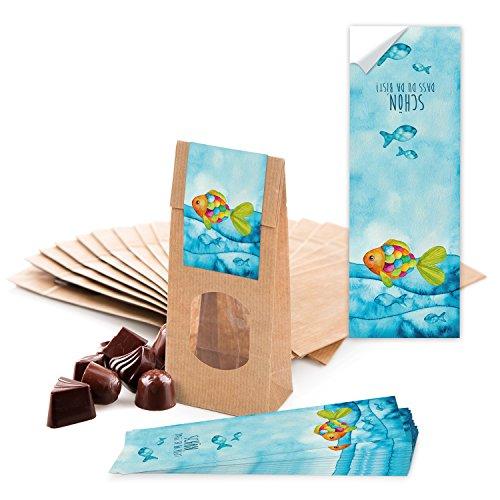 25 kleine braune Papier-Tüten MIT FENSTER und Pergamin-Einlage 7 x 4 x 20,5 cm + 25 blau türkise Regenbogen-Fisch SCHÖN DASS DU DA BIST Aufkleber 5 x 15 cm Verpackung give-away