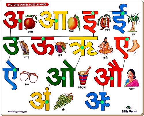 StonKraft Vorschule Lernspielzeug - Hindi Alphabete Vokale mit Knopf | Hindi Alphabete Vokale | Lernspielzeug | Lernspiele