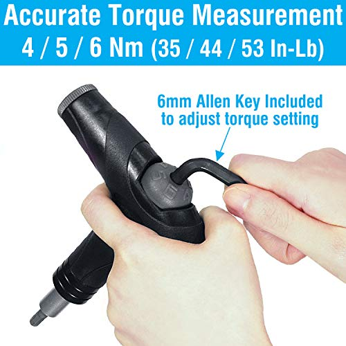 MARQUE Adjustable Bike Torque Wrench – 4, 5, 6 Nm Dial Portable Mini Bicycle Multitool Allen Key Tool, includes 3, 4, 5 mm Hex, T 25 Tool Bits – Repair Your Road and MTB at Home Garage - Cyclist Gift