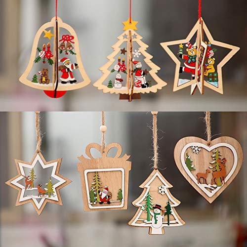 Daity Weihnachtsanhänger Holz Weihnachten Anhänger Weihnachtsdeko Christbaumschmuck in verschiedenen Formen, 7 Stück
