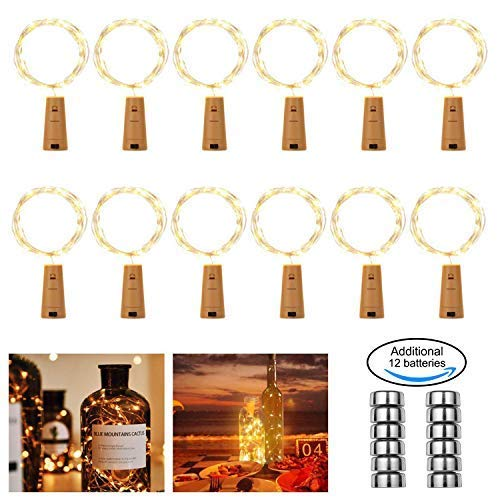 FITFIRST LED Flasche Lichterkette, 12 Stück 2M 20 Weinflaschen Lichter Stimmungslichter Mini Kupferdraht, Warmweiß Lichterketten mit 12 Batterie für Flasche DIY, Party, Dekor, Weihnachten
