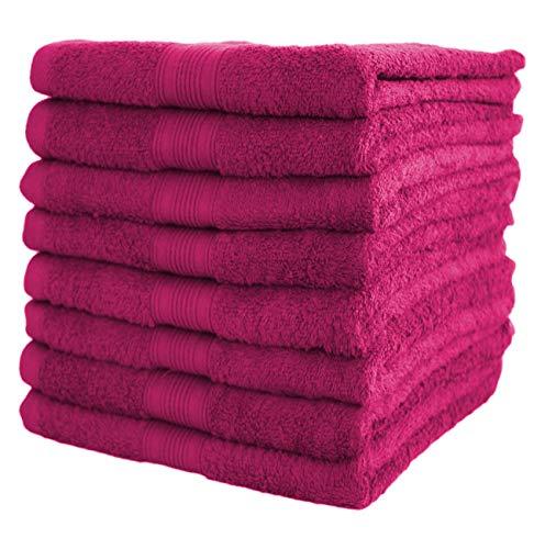 NatureMark NM-HT0860 Frottier Handtücher, 8-er Pack, 50 x 100 cm, 100% Baumwolle, Pink (Pink)