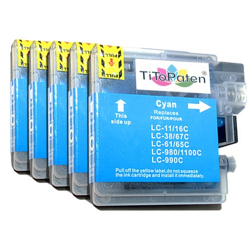 5X kompatible Premium XL Druckerpatronen für Brother DCP 195 C in Cyan. Sehr Gute Laufleistung und Preiswert!