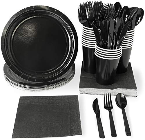 Black Party Supplies, Paper Plates, Plastic Cutlery, Cups, and Napkins (Serves 24, 144 Pieces)