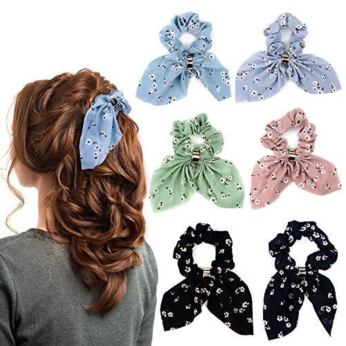 Myhozee 6 Stück Haargummis Scrunchies Chiffon Bowknot Haar Gummibänder Haarbänder Elastischer Bunte Haarschmuck Haarseil für Damen Frauen Pferdeschwanz