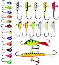 ZWMING Ice Fishing Jigs Kit, Ice Fishing Lures in Tackle Box Bass Trout Walleye Perch Winter Ice Fishing Baits Treble Hooks (A-25Ppcs)